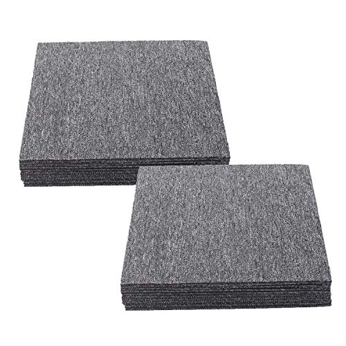 Nisorpa Commercial Carpet Floor Tiles Dark Grey 20x20 inch 20pcs Pack Washable Carpet Floor Tiles Heavy Duty Carpet Squares Bitumen Backed for Indoor Home Office Apply