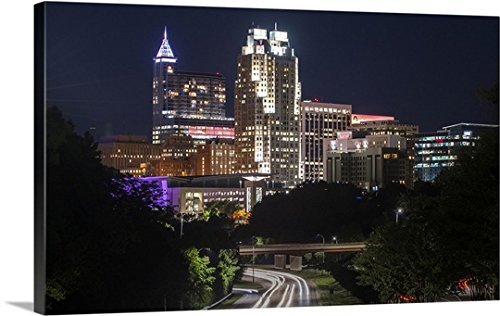 Gallery-Wrapped Canvas entitled Raleigh Skyline at Night, North Carolina by Circle Capture - Nc Town Of Raleigh