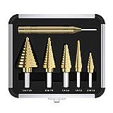Step Drill Bit Set & Automatic Center Punch 5pcs HSS Cobalt Titanium Step Drill Bit Set, Multiple Hole 50 Sizes High Speed Step Drill Bit Set with Aluminum Case