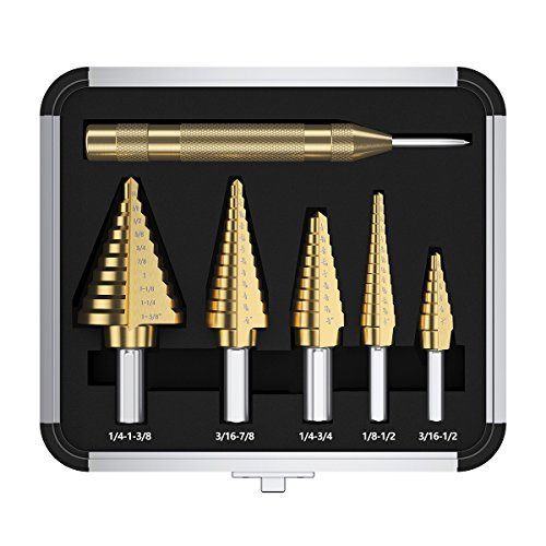 Step Drill Bit Set & Automatic Center Punch 5pcs HSS Cobalt Titanium Step Drill Bit Set, Multiple Hole 50 Sizes High Speed Step Drill Bit Set with Aluminum Case