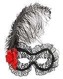 Spanish Rose Mask Black Lace Red Rose Feather Masquerade Mardi Gras Venetian