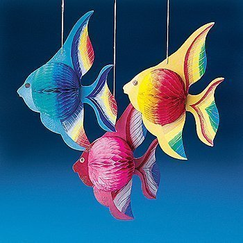 Fun Express - Tissue Tropical Fish Decorations (10 Inches) (2-Pack of 6) (Fun Fish)