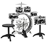 (US) Kids Drum Set with Cymbals Stands Throne Boys Toy Black Silver Junior
