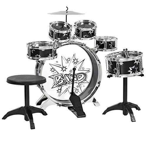 Ba Ba Lamb Infant Costumes (Eight24hours Kids Drum Set Kids Toy with Cymbals Stands Throne Black Silver Boys Toy Drum Kit)