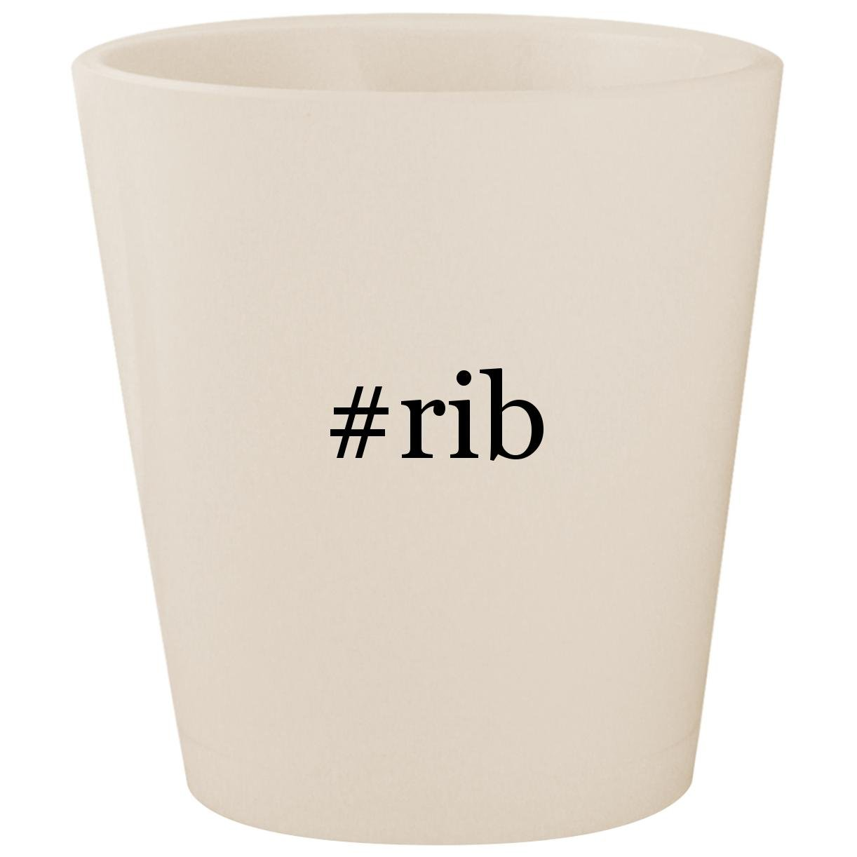 #rib - White Hashtag Ceramic 1.5oz Shot Glass