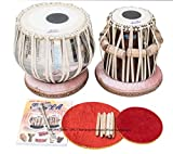 Maharaja Musicals Tabla Set, Classic Brass Tabla Drums, Brass Bayan 3 Kilograms, Sheesham Tabla Dayan, Nylon Bag, Book, Hammer, Cushions, Cover (PDI-CG)