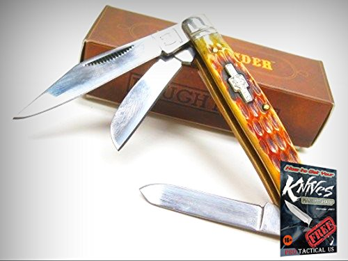 ROUGH RIDER Amber Jigged Bone STOCKMAN 3 Blade Folding Pocket Knife! 001195 + free eBook by ProTactical'US