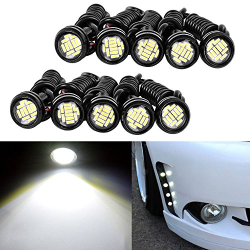 YINTATECH 10pcs 23mm 9w White Eagle Eye LED Lights Daytime Running Lights Clearance Lights for 12v Vehicle
