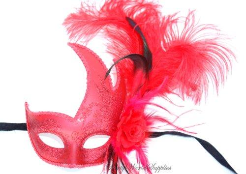 Masquerade Ball Mask - Red venetian Mask - Ostrich Feather Mask Ostrich Feather Masks
