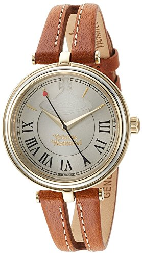 Vivienne Westwood watch Farringdon Gold Dial Brown leather Quartz VV168GYTN Ladies