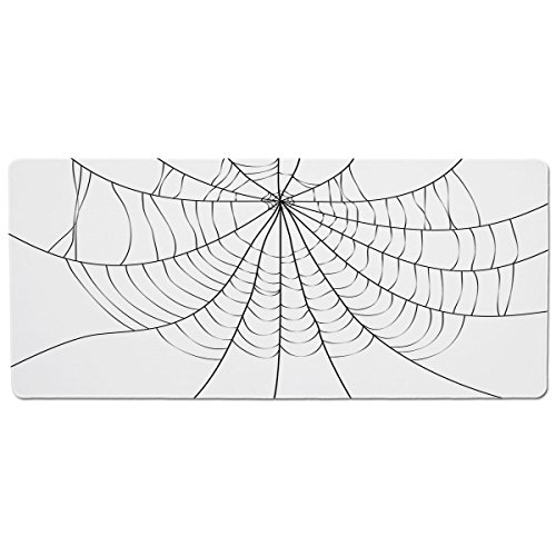 (iPrint Pet Mat for Food and Water,Spider Web,Close Up Cobweb Design Monochrome Design Elements Catching Network Fear Decorative,Grey Black White,Rectangle Non-Slip Rubber Mat for Dogs and Cats)