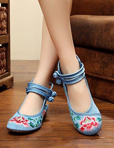 Redonda La Slingback Fanwer de de Bordado Lienzo Azul Luz Ocasionales de de Las Sandalias Mujeres Zapatos Tela Flor Punta R7XY7wp
