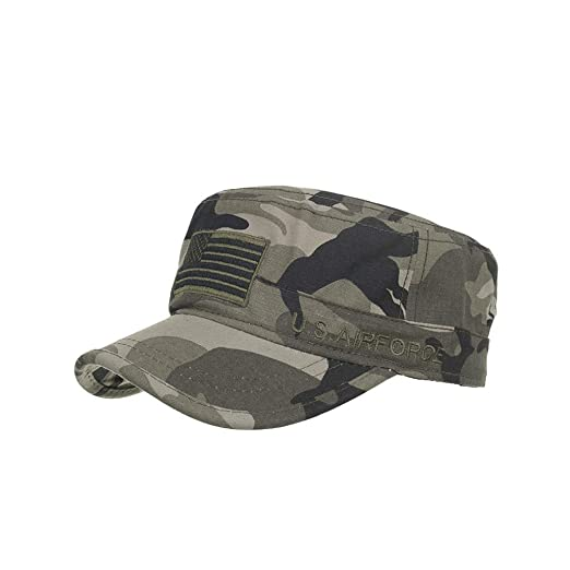 53e94b32391551 Amazon.com: Fashionable Solid Color Unisex Adjustable Strap Cadet Cap-Cotton  Army Cap Cadet Hat Military Flat Top Baseball Cap Camouflage: Clothing