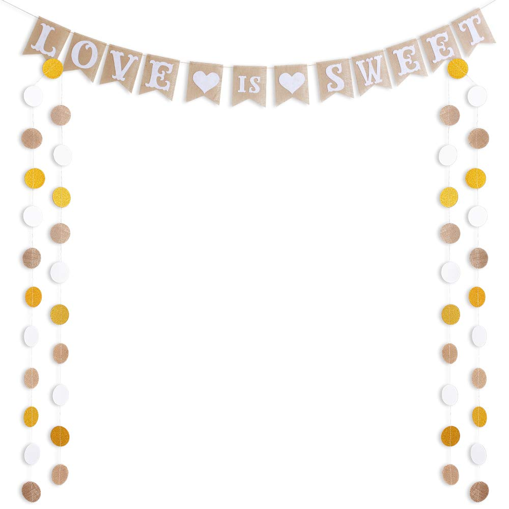 LOVE IS SWEET Banner Burlap Flag & 50 Circle Dots Garland for Wedding Decorations Linen Natural fiber Vintage Rustic Bunting Signs for Bride Shower Bachelorette Engagement Wedding Party Supplies