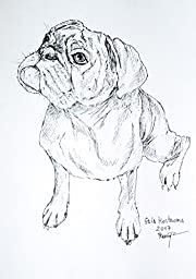 The Dog animal original ink drawing