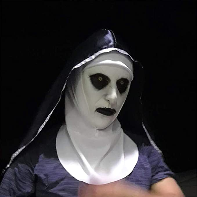 Amazon.com: VJUKUBWINE Halloween Decoration Horrified Nun Female Ghost Mask Costume Mask Cosplay Full Head Mask Latex Fire Wolf: Home & Kitchen