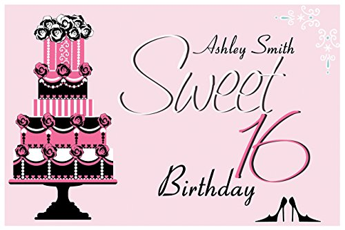 Custom Girls Sweet 16 Birthday Teenager Party Poster - sizes 36x24, 48x24, 48x36; Personalized Female Sweet sixteen Home Decorations, Handmade Party Supply