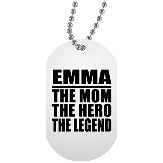 Emma The Mom The Hero The Legend - Military Dog Tag Collar ...