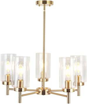 VINLUZ Contemporary 5 Light Chandelier Lighting Brushed Brass Clear Glass Shades Modern Pendant Lamp Rustic Dining Room Lighting Fixtures Hanging Adjustable Wire Semi Flush Ceiling Lights
