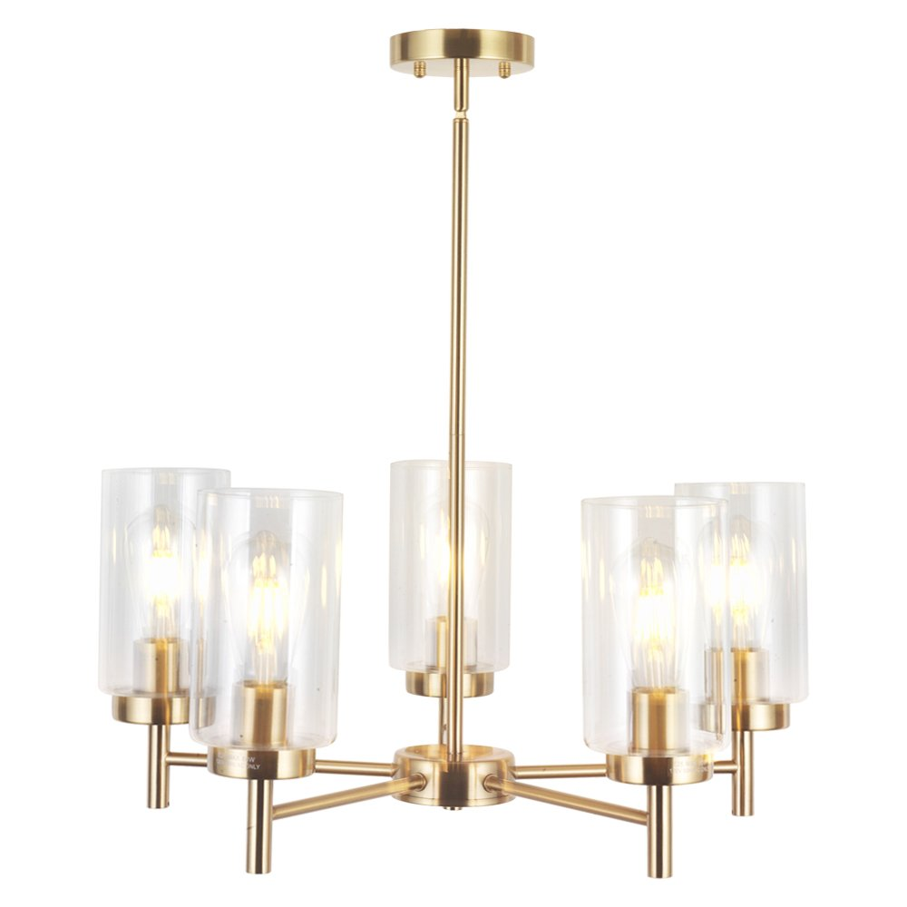 Vinluz contemporary 5 light large chandelier lighting modern clear glass shades pendant lamp brushed brass rustic dining room lighting fixtures hanging
