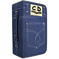 FORE Legend Denim CD/DVD/Blu-Ray Disc 128pcs Wallet Case for CD/DVD Carrying Storage 128 Capacity Made of Denim Color Blue