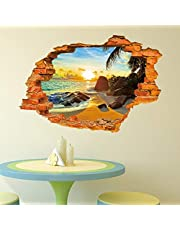 Creative 3D Sun and Beach Home Decor Removable Wall Sticker for Living Room Bed Room
