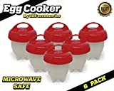 Silicone Egg Cooker Poacher - First Model Microwave Safe - Hard Boiled Eggs Without The Shell Using The Microwave Or A Pot- Set Of 6 BPA Free NonStick Egg Cooker - As Seen On TV