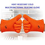 LP Silicone Heat Resistant Grilling BBQ Gloves (Pair) for Cooking Camping Baking Smoking Potholder Fireplace Orange
