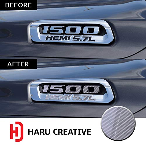 - Haru Creative - Front Hood Emblem Logo Letter Overlay Vinyl Decal Sticker Compatible with and Fits Ram 1500 5.7L Hemi 2019-6D High Gloss Carbon Fiber Silver