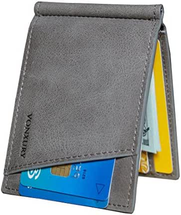 Slim Money Clip for Men,RFID Thin Genuine Leather Wallet with ID Windows by VONXURY
