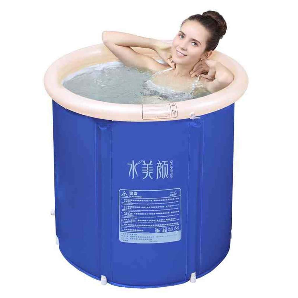 Kids Portable Inflatable Bathtub Adult Portable,Folding Bath Home Spa Massage Quality Tub Soaking Baths Inflatable Pools- Thick PVC (Color : Blue, Size : L) by LIL Bathtub