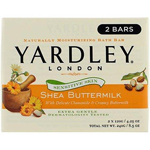 Yardley London Shea Buttermilk Sensitive Skin Naturally Moisturizing Bath Bar, 4.25 ounce, 2 Count