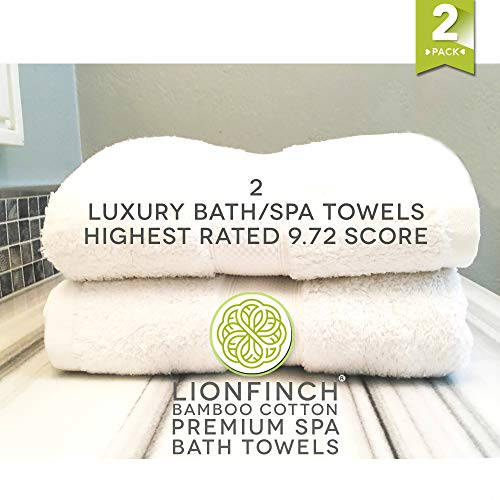 LionFinch Premium Bamboo Cotton Towels- Set of 4. Super Soft Absorbent Plus Mold Mildew Resistant. 54 inches Long 27 inches Wide. Easy to Wash Dry. by LionFinch (Image #6)
