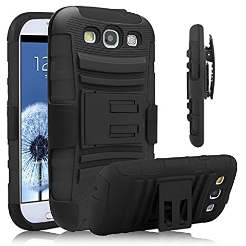Galaxy S3 Case, Venoro [Heavy Duty] Armor Holster Defender Full Body Protective Hybrid Case Cover with Kickstand & Belt Swivel Clip for Samsung Galaxy S3 S III I9300 (Galaxy S3 Phone Cases Samsung)