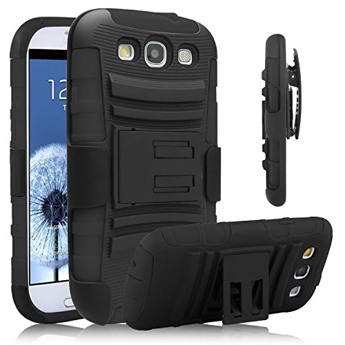 Galaxy S3 Case, Venoro [Heavy Duty] Armor Holster Defender Full Body Protective Hybrid Case Cover with Kickstand & Belt Swivel Clip for Samsung Galaxy S3 S III I9300 (Black)