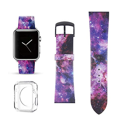Nebula Galaxy Replacement Band Compatible for iWatch 42mm/44mm Pastel Bay Wrist Band Leather Strap Compatible for Apple Watch Smartwatch Series 4 3 2 1 Version