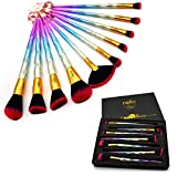 FONY Artist Makeup Brushes 10 Pieces Professional Makeup Brush Set, Premium Silky Soft Synthetic Bristles with Multicolor Handle Cosmetics Brush Kit (10, Dazzling Diamond)