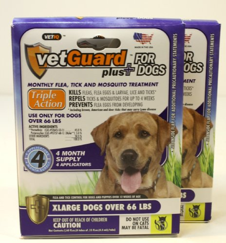 Vetguard Plus for Dogs 8 Month Supply (in 2 Pak) (X Large Dogs Over 66 Lbs)