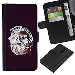 Be-Star la tarjeta de Crédito Slots PU Funda de cuero Monedero caso cubierta de piel Para LG G3 ( Cool Shades Flames Purple Skull Death )