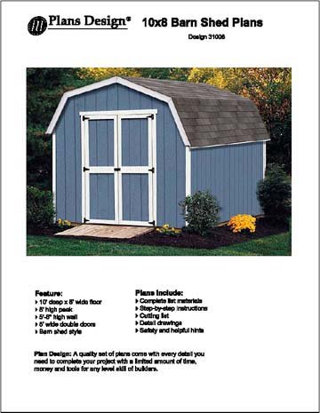 10' X 8' Barn/gambrel Storage Shed Project Plans -Design #31008 by Plans Design