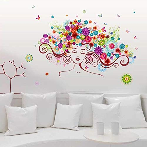 Women Art Wall Stickers Wall Stickers & Murals Home Décor Home Décor Accents for Living Room Flower Wall Art Bedroom…