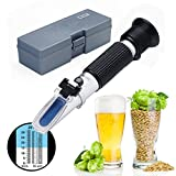 Refractometer, RISEPRO Home Brewing Alcohol Hydrometer Dual Scale Brix 0~32% Wort SG 1.000~1.120 Specific Gravity Sugar Wine Beer Juice Fruit Grass (Aluminium)
