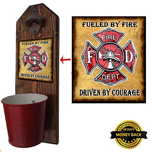 """Cheap """"Firefighter"""" Hero Bottle Opener and Cap Catcher – Handcrafted by a Vet – 100% Solid Pine 3/4″ Thick – Rustic Cast Iron Bottle Opener and Galvanized Bucket – To empty, twist the bucket! Great Gift!"""