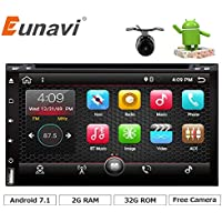 Eunavi 2 Din In Dash Android 7.1 Quad Core 2 Din Car Dvd Player Universal 2din GPS Navigation Audio Stereo Radio with WIFI+bluetooth+camera