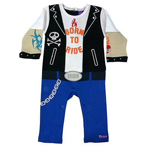 Sozo Boys Newborn Infant Biker Coverall Baby Costume, Multi, 0-3 Months ()