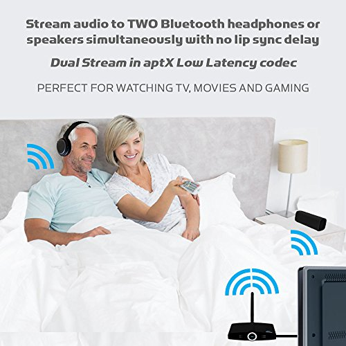 Miccus New! LONG RANGE Dual Link Bluetooth Transmitter and Bluetooth Receiver, aptX Low Latency TX & RX. Wireless stereo adapter for TV, Speakers, Phone and more. AUTO OPTICAL BYPASS - (Home RTX 2.0) Photo #3