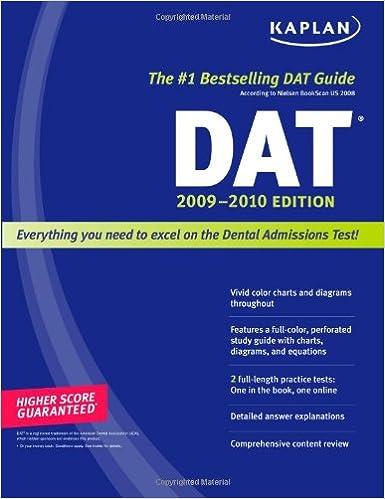 Dental Admission Test Kaplan Dat Kaplan DAT 2009-2010 Edition