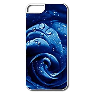 IPhone 5/5S Cases, Wet Drops Blue Rose White Case For IPhone 5S