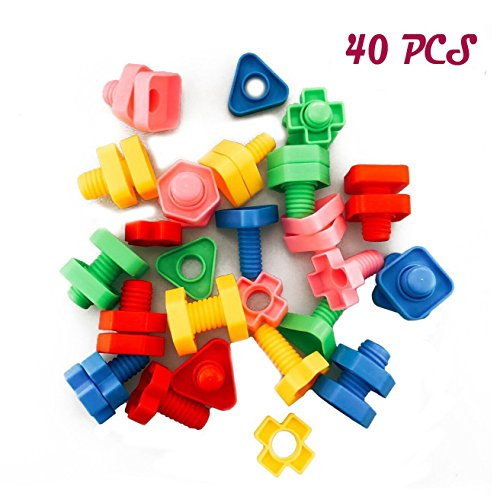 DLOnline 40PCS Jumbo Nuts and Bolts,Occupational Therapy Autism,Jumbo Nuts Bolts Toy,Screw nut toy,Screw toy,Jumbo Screw nut,Use child safety materials by DLOnline