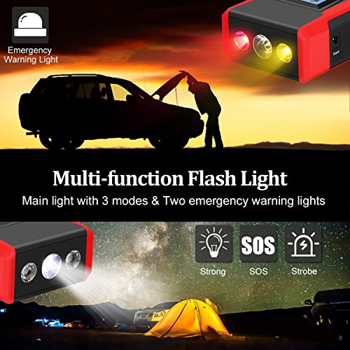 800A Peak Jump Starter with Emergency Light 4 Modes Motenik Car Jump Starter(Up to 6.5L Gas or 5.0L Diesel Engines) Auto Battery Booster Dual USB Power by Motenik (Image #2)